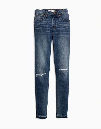 """Madewell 9"""" High-Rise Skinny Jeans in York Wash: Rip and Repair Edition"""