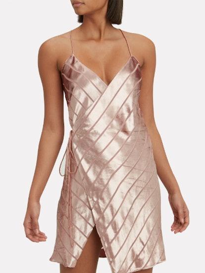 Velvet Stripe Wrap Mini Dress