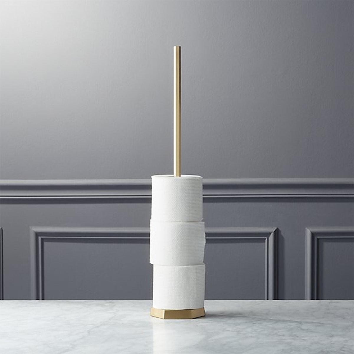 Hex Brass Toilet Paper Storage Tower