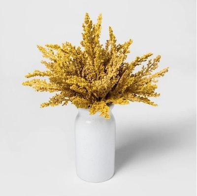 Faux Golden Rod in White Vase - Threshold