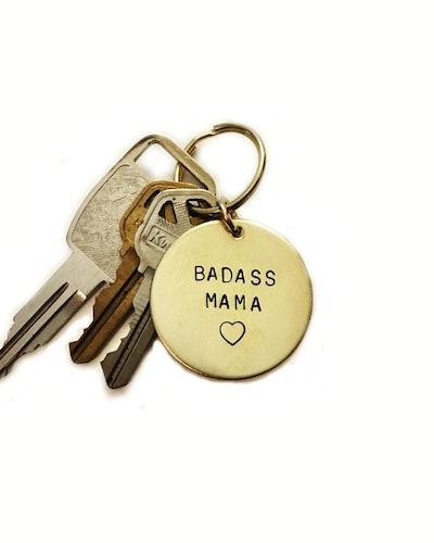 Badass Mama Handstamped Keychain