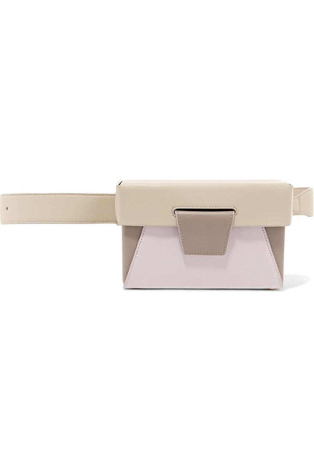 Lola Color-Block Textured-Leather Belt Bag