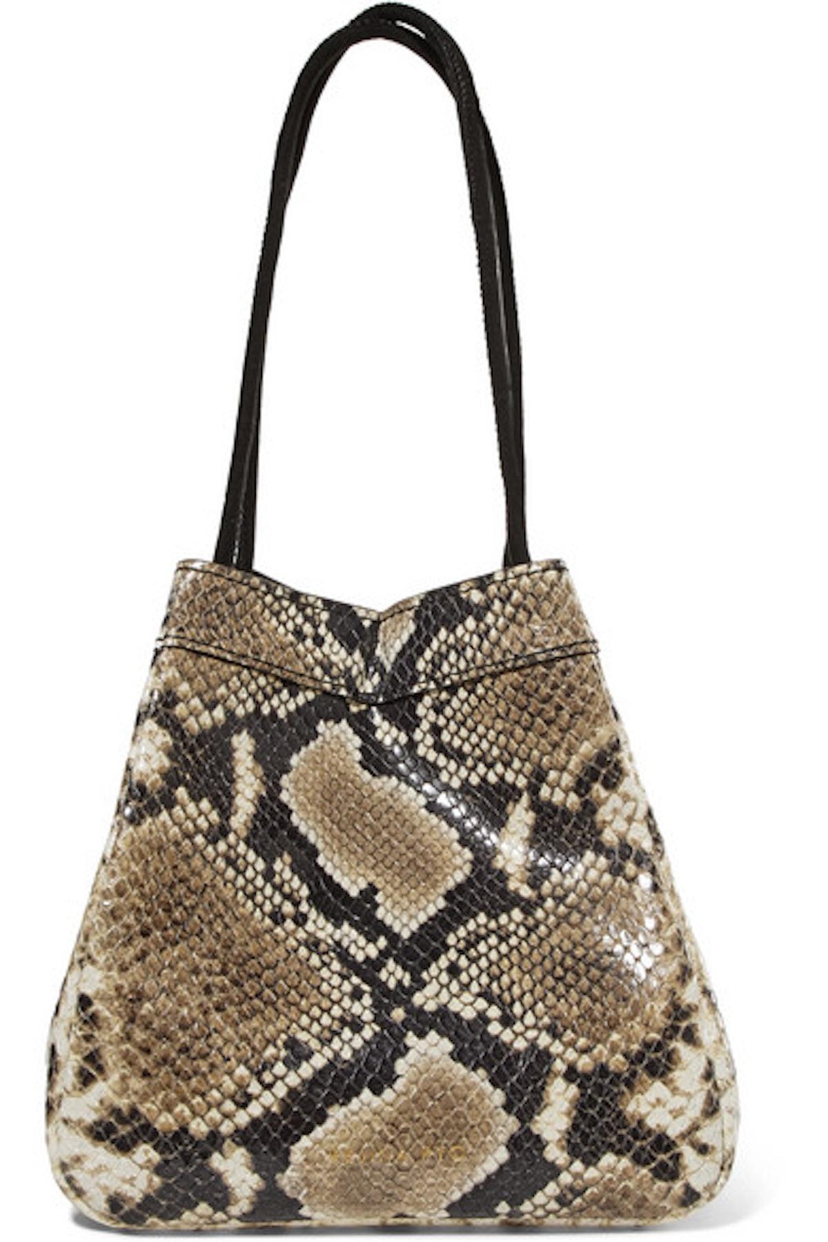 Rita Snake-Effect Leather Bucket Bag