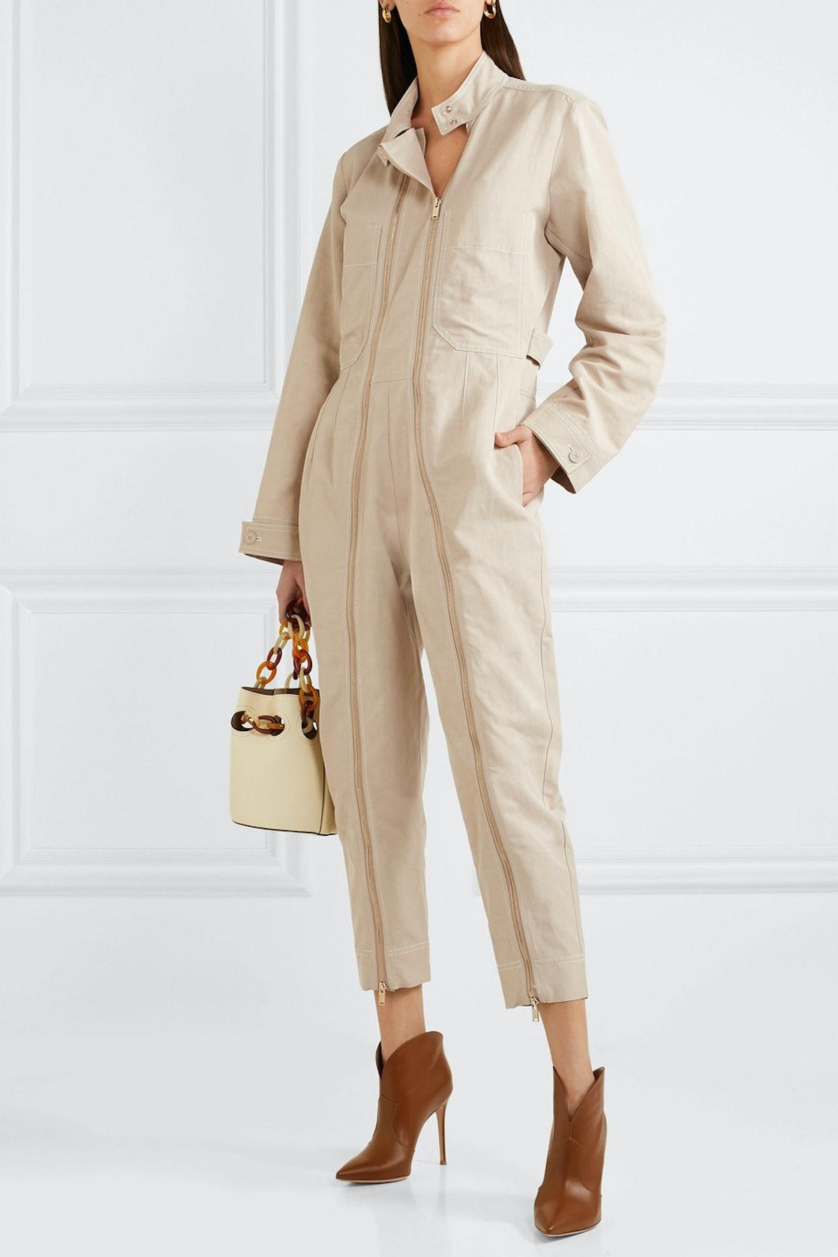 Zip-Embellished Twill Jumpsuit