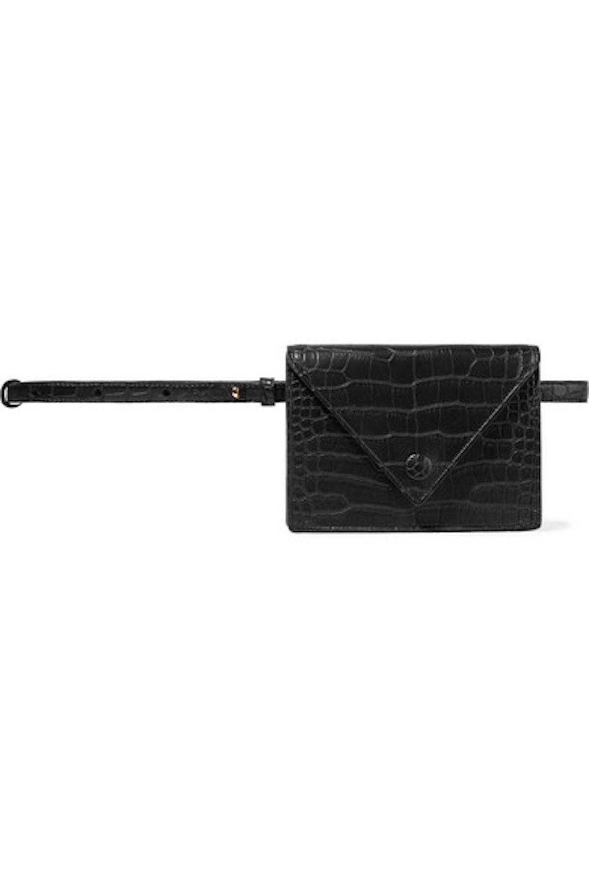 Croc-Effect Vegan Leather Belt Bag