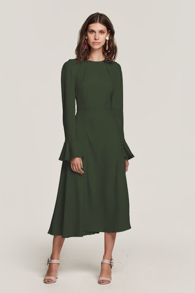 Beulah London Yahvi Tailored Midi Dress in Olive Green