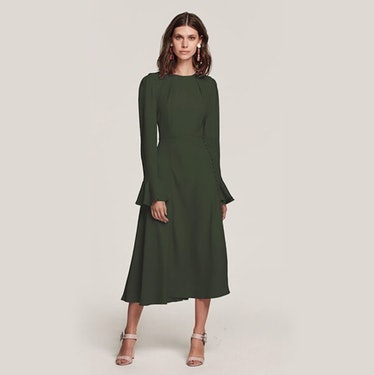 "Yahvi Tailored Midi Dress In ""Olive Green"""
