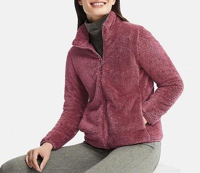 Women's Fluffy Yarn Full Fleece Zip Jacket