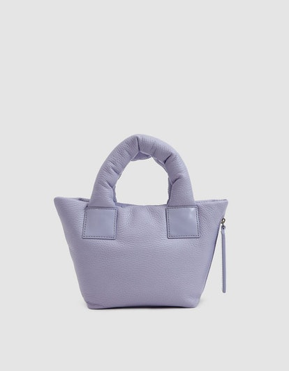 Kara Pebble Leather Mini Puff Bag in Lavender