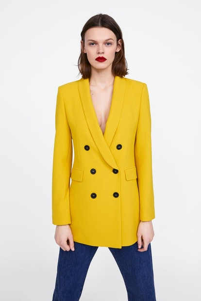 Double Breasted Buttoned Blazer