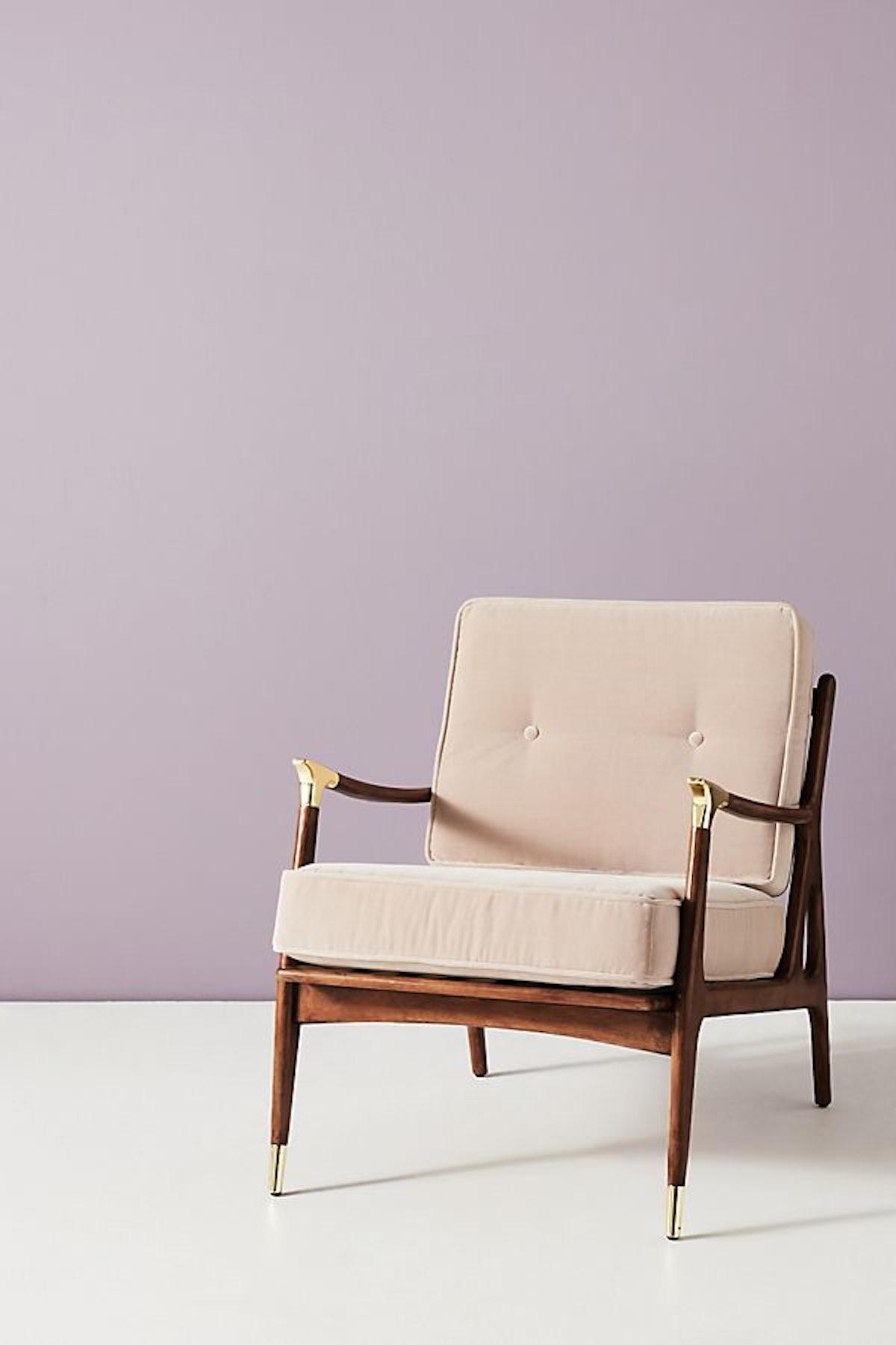 Velvet Haverhill Chair, Light Grey