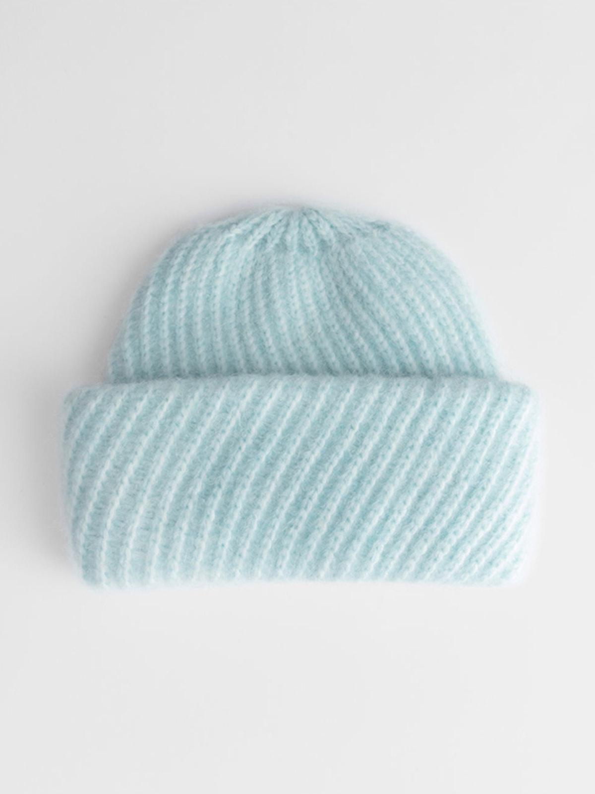 Diagonal Wool Blend Knit Beanie