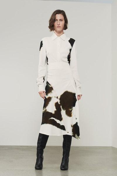 Victoria Beckham Multistitch Waistband Midi Skirt