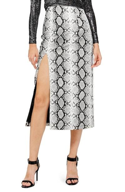 Snake Print Faux Leather Midi Skirt