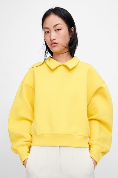 Sweatshirt With Lapel Collar