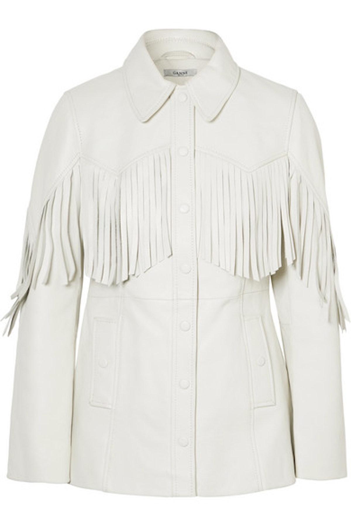 Angela Fringed Textured-Leather Jacket