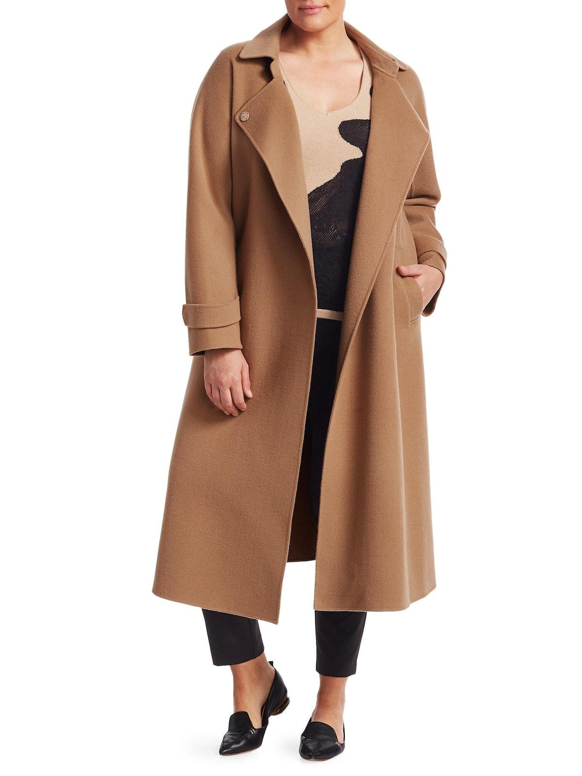 Plus Size Trionfo Wrap Camel Coat