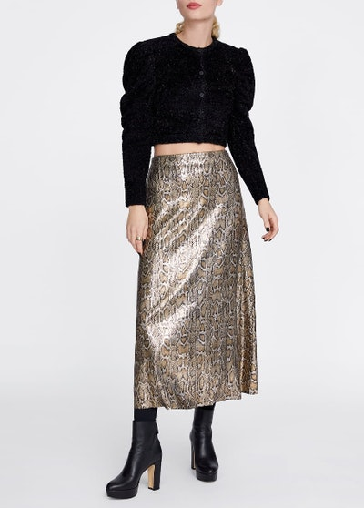 Snakeskin Print Skirt With Sequins