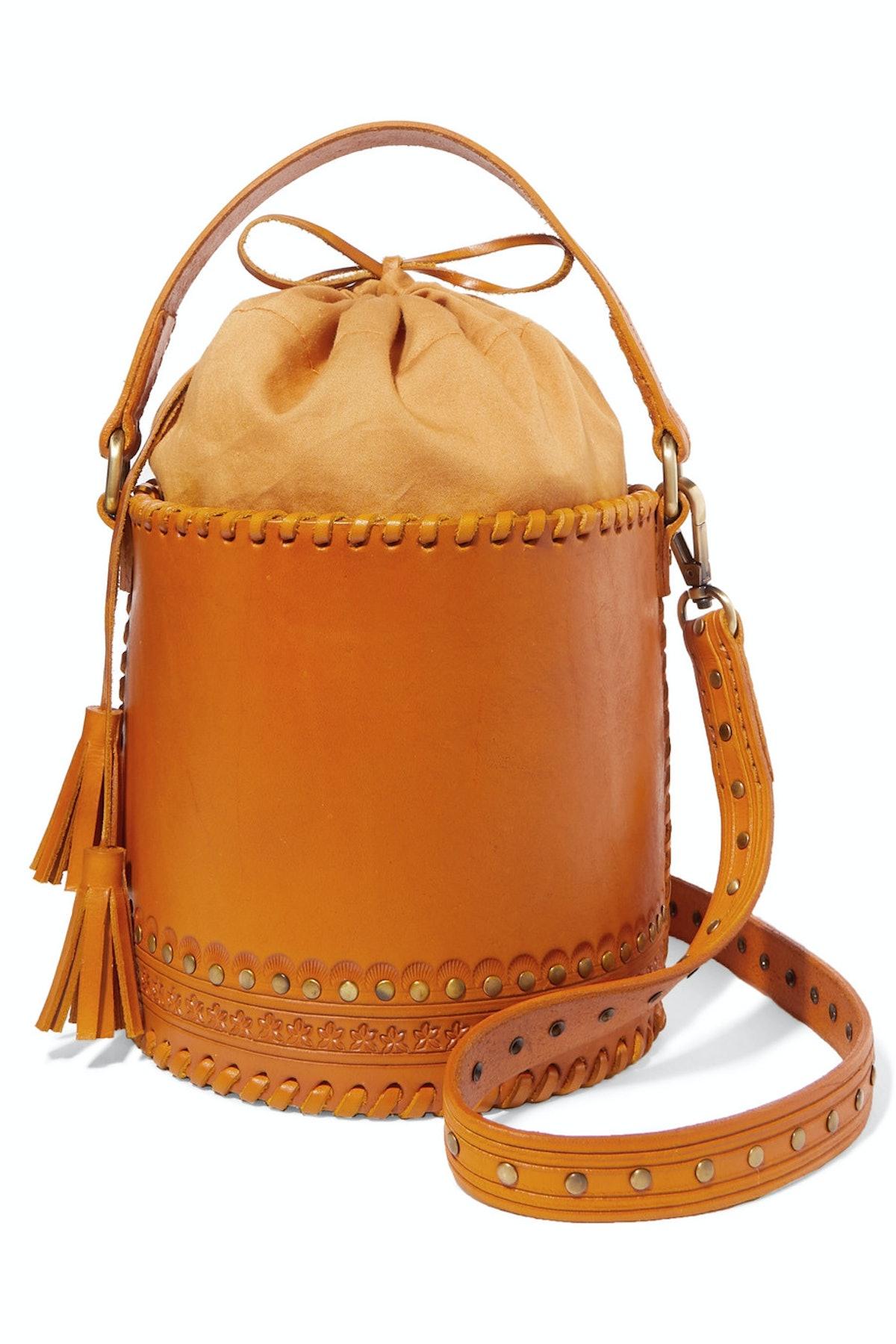 Andra Embellished Leather Bucket Bag