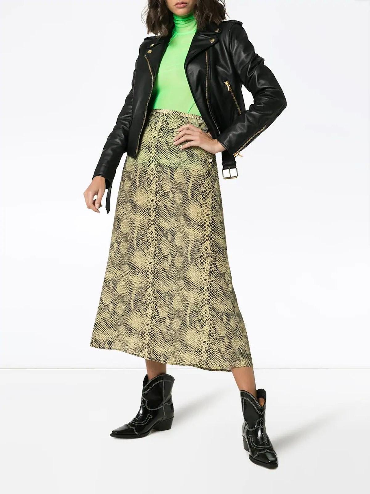 Snake Print Silk Skirt