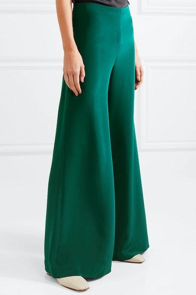 Silk-Crepe Wide-Leg Pants