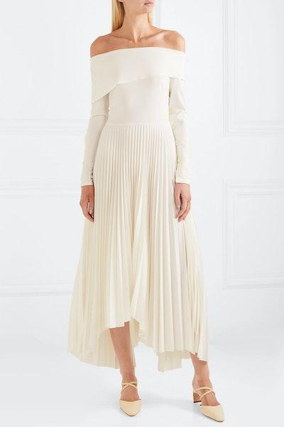 Off-The-Shoulder Pleated Crepe De Chine Maxi Dress