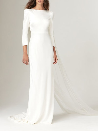 Gwendolyn Crepe Gown With Fitted Bracelet Sleeves And Open Back
