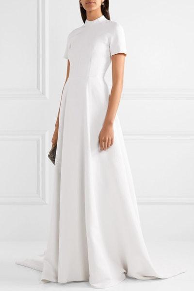 Verona Open-Back Matelassé Gown