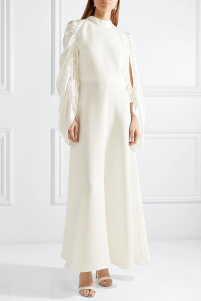 Zariah Ruched Silk-Blend Crepe And Hammered-Satin Gown