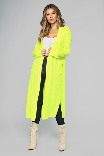 Crew Love Cardigan in Neon Yellow