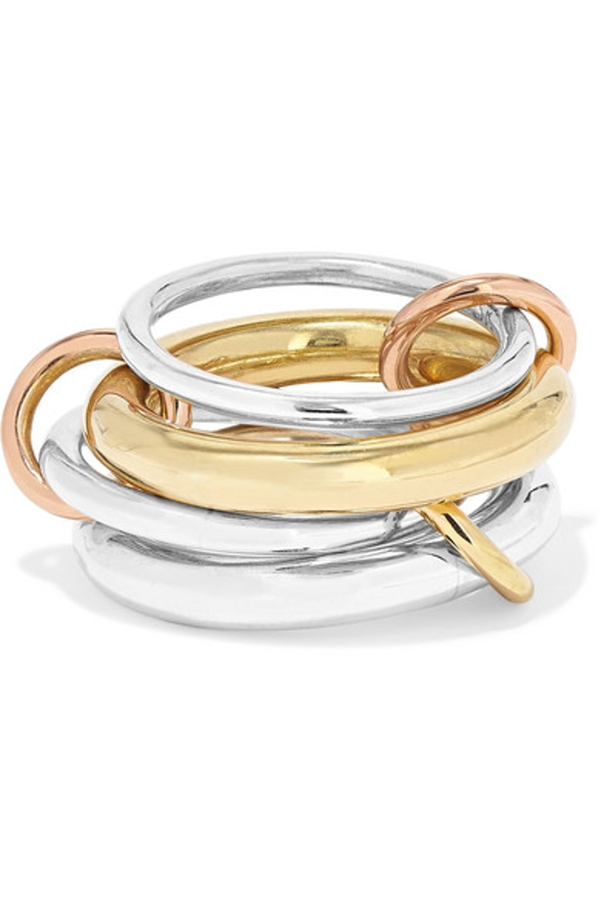 Spinelli Kilcollin Set of Four 18-karat Yellow and Rose Gold and Sterling Silver Rings