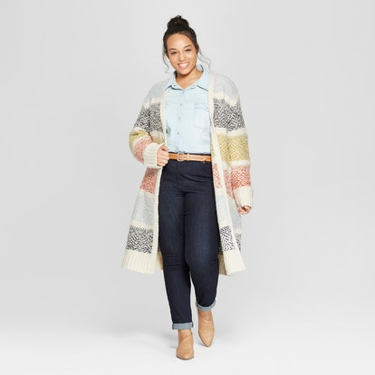 Universal Tread Plus Size Striped Duster Cardigan