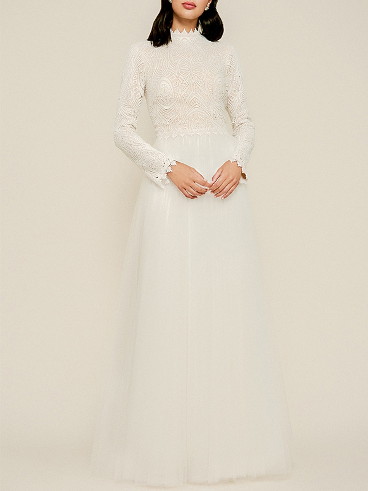 Emine Long Sleeve Embroidered Tulle Gown