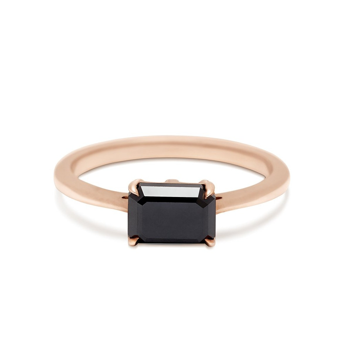 Bea East/West Solitaire Ring Rose Gold & Black Diamond (7x5MM)