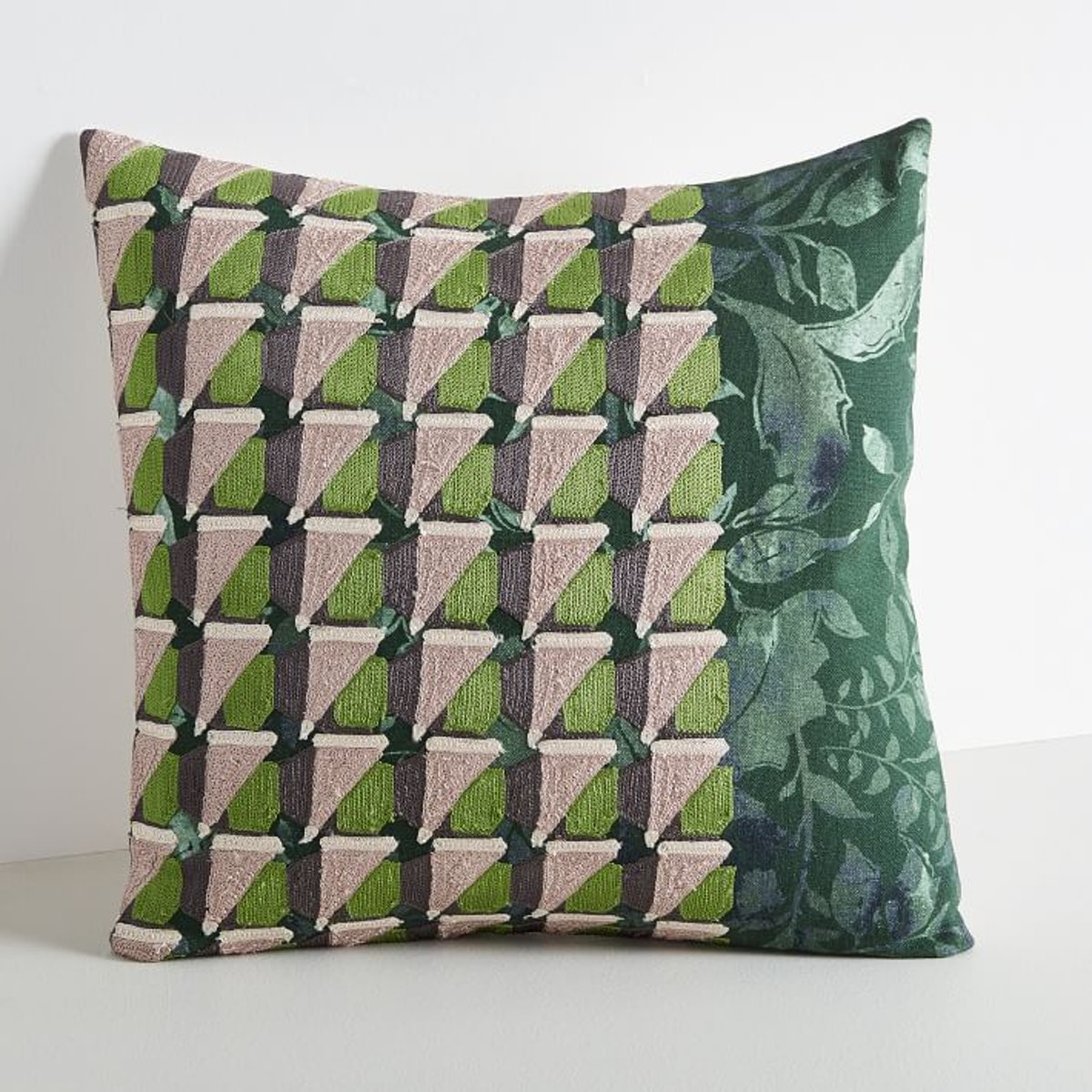 Embroidered Geo Floral Pillow Cover - Dark Green Basil