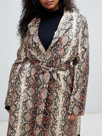 Oversized Coat In Snake Print