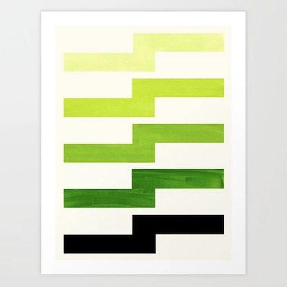 Minimalist Mid Century Modern Sap Green Watercolor Painting