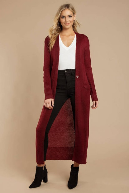 Lucid Dreams Wine Longline Knit Cardigan