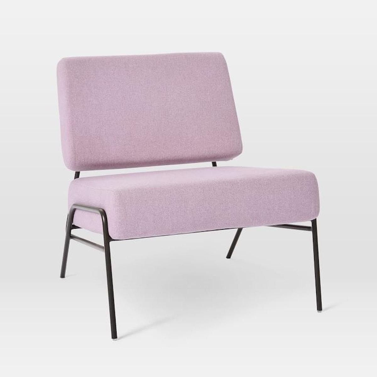 Wire Frame Slipper Chair, Pink Grapefruit