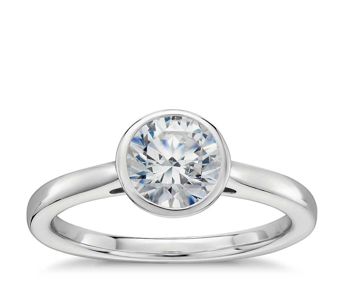 Bazel Set Solitaire Engagement Ring - Platinum