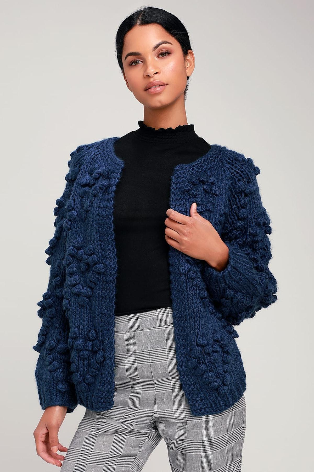 Haille Navy Blue Knit Pom Pom Cardigan Sweater