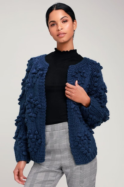 Haille Navy Blue Knit Pom Pom Cardigan Sweater