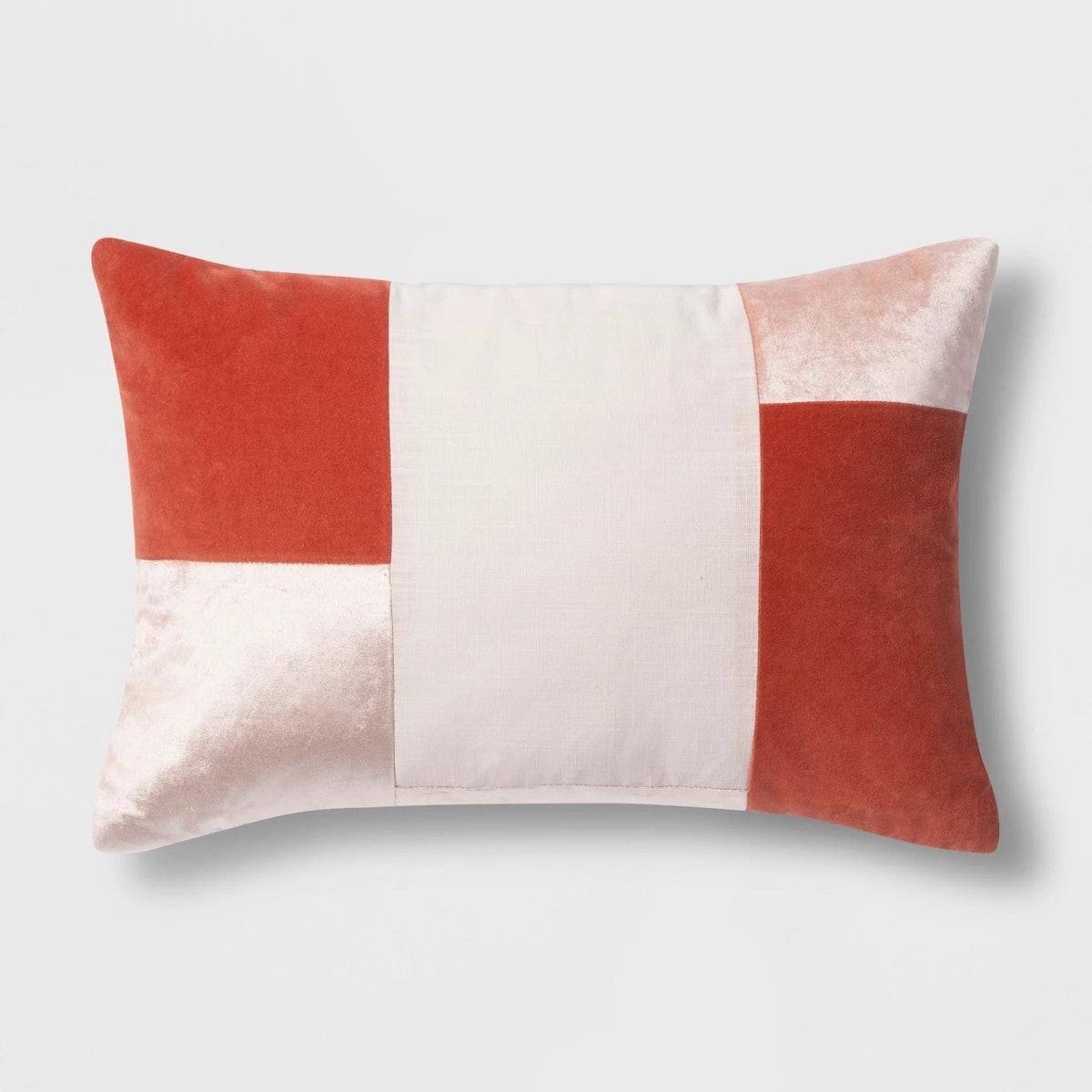 Patchwork Velvet Lumbar Throw Pillow Peach - Project 62™