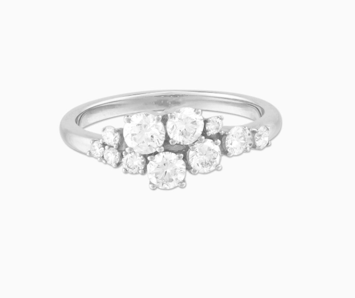 Diamonds Cluster Ring - Solid White Gold, Diamond