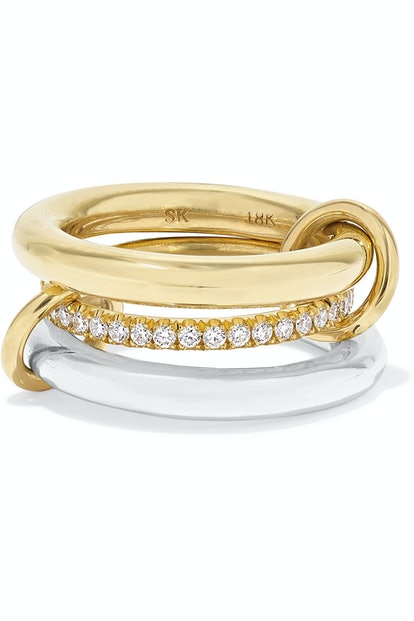 Spinelli Kilcollin Set of Three 18-karat Gold, Sterling Silver and Diamond Rings