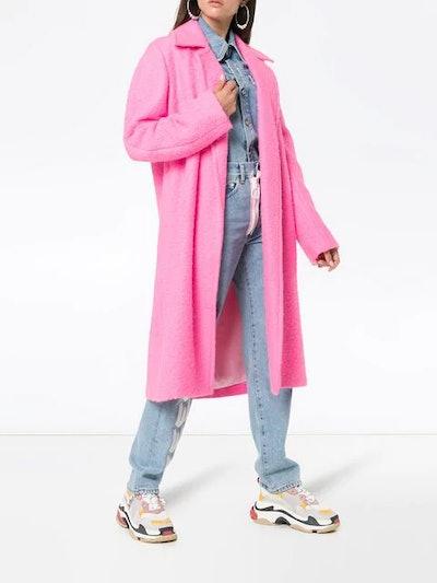 Disco Pink Belt Tie Wool Coat