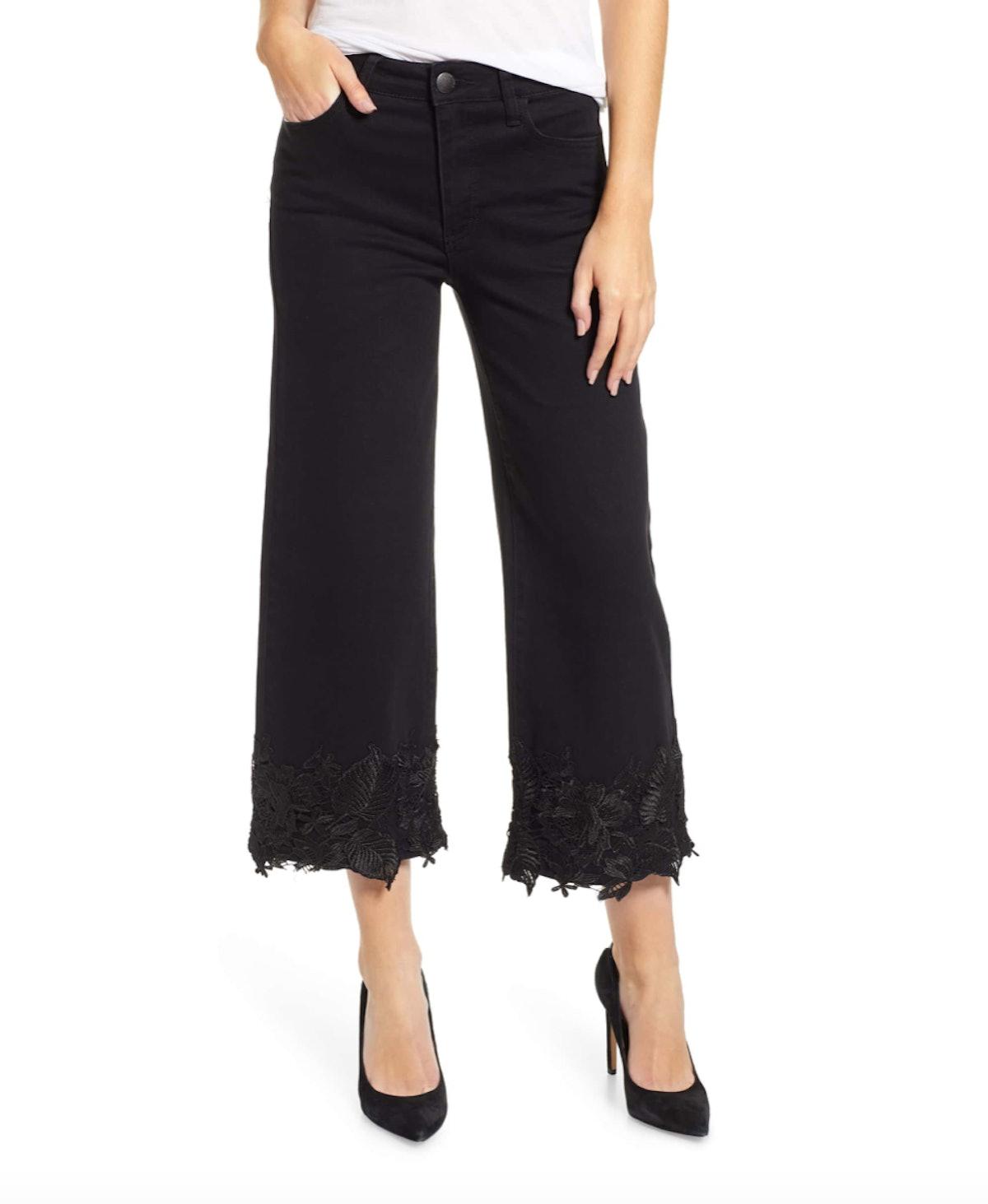 Prosperity Denim Lace Hem Wide Leg Crop Jeans
