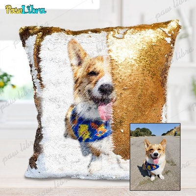 Custom Pillow of Reversible Sequins with Pet's Photo