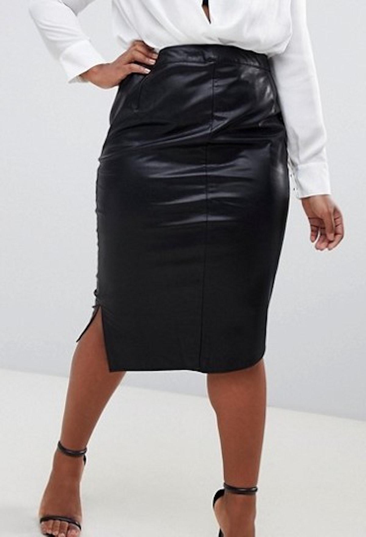 Wrap Front Midi Skirt in Black