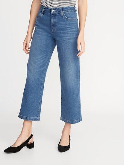 Hi-Rise Wide-Leg Ankle Jeans
